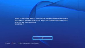 PS4 Console Ban Message 1 1 300x169 برای اولین بار در ایران!!!آنبن کردن کنسول های PS4 توسط تیم قدرتمند کپی خور