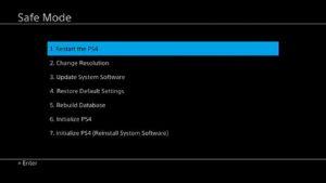 ps4safemode 300x169 آموزش بازگرداندن هارد کنسول PS4 به تنظیمات کارخانه